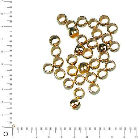 Perle à écraser - Ø 2 mm - Doré - lot de 35 pces