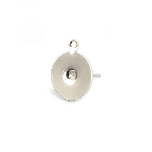 Boucles d'oreille tige plateau rond avec anneau en métal - Nickel - 10 mm