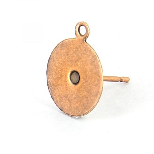 Bo tige plateau métal rond + anneau cuivre viei