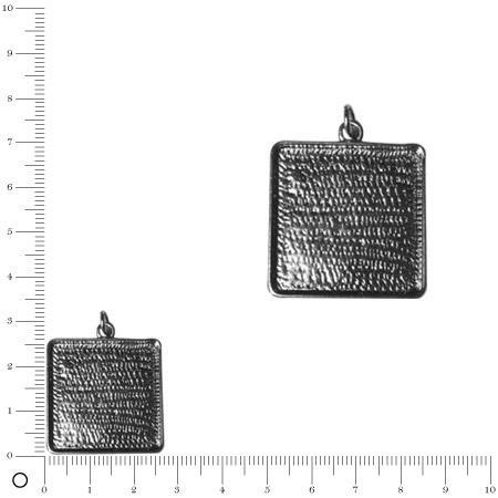Pendentif carré - 26 mm - Argenté vieilli
