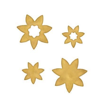 Blanks - Plaques à décorer - Flowers one - 4 pces Ø : de 1,5 à 4,9 cm environ