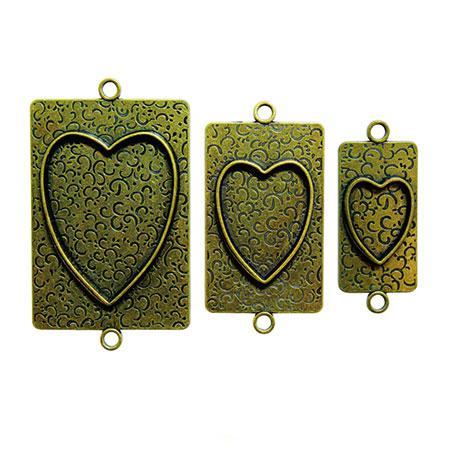 Bezels Bronze - Médaillon à décorer - Hearts Two 3 pces 2,4 x 4,5, 3,7 x 6 et 5 x 7,3 cm