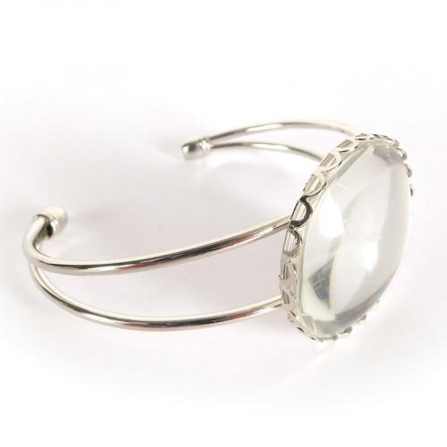 Bracelet à décorer dentelé rond avec Cabochon - argenté - 6,3 x 6,2 cm