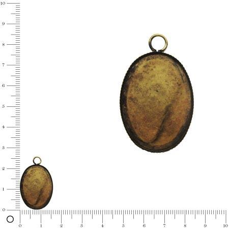 Pendentif simple à coller ovale L. 22,5 mm - Bronze vieilli