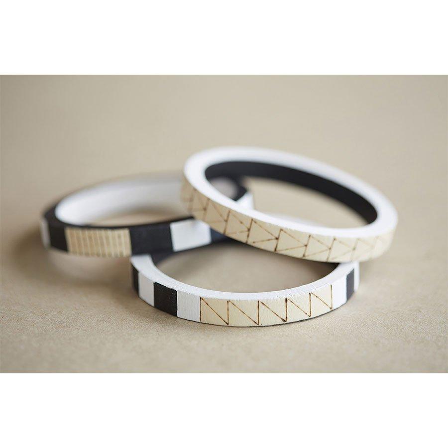 3 bracelets en bois ronds Lucy - 10 mm