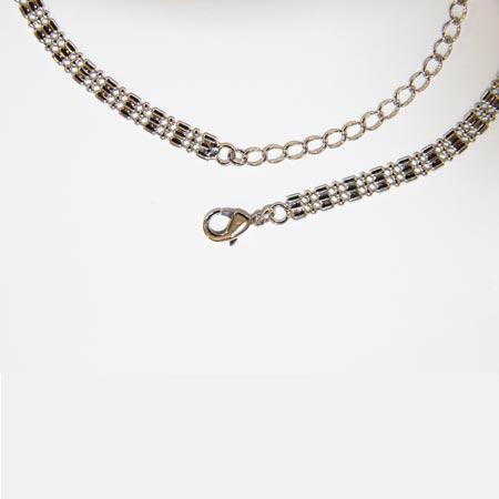 Collier maille fantaisie - L. 32 cm - Argenté vieilli