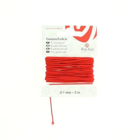 Fil élastique - Rouge - 0,1 cm x 5 m