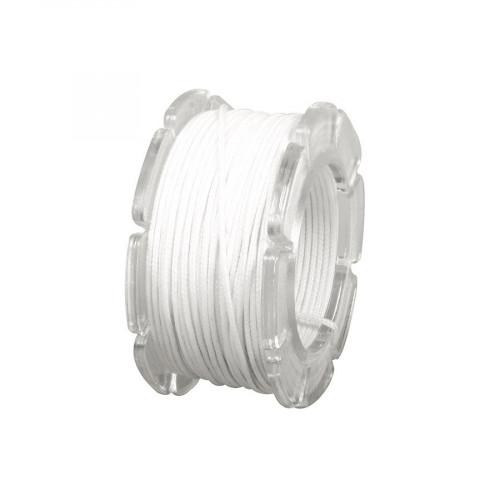 Cordon ciré armé nylon - blanc - 0,6 mm - 10 m