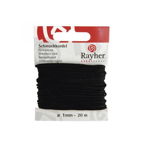 Cordon bijou - noir - 1 mm x 20 m