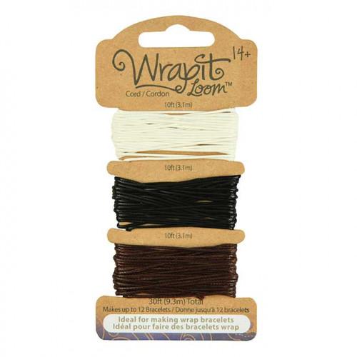Cordons pour Bracelets Wrapit™ Loom - blanc / noir / marron