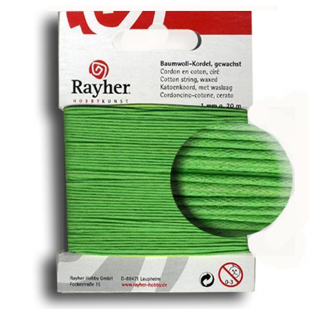 Fil de coton ciré 1 mm - Vert moyen x 20 m