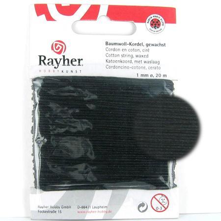 Fil de coton ciré 1 mm - Noir x 20 m