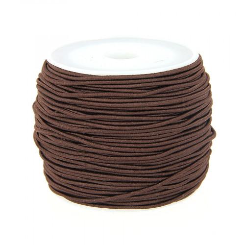 Fil élastique guipé - Marron - 1 mm par 28 m