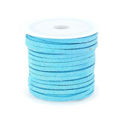 Cordon suédine synthétique - Bleu clair - 2 mm par 5 m
