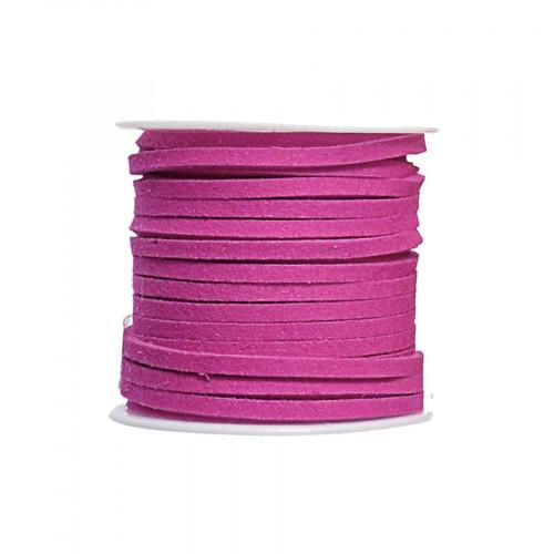 Cordon suédine synthétique - Fuchsia - 2 mm par 5 m