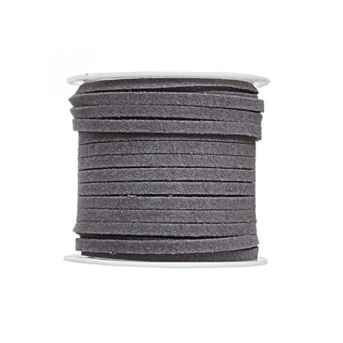 Cordon suédine synthétique - Gris - 2 mm par 5 m