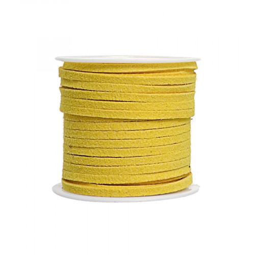 Cordon suédine synthétique - Jaune - 2 mm par 5 m