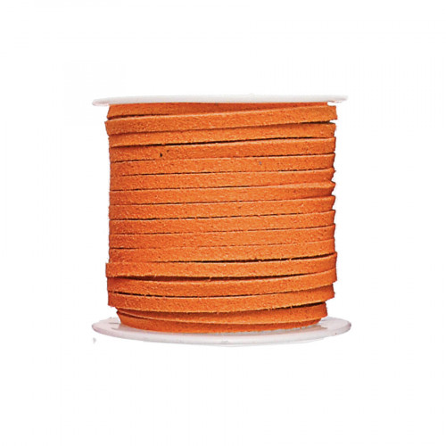 Cordon suédine synthétique - Orange - 2 mm par 5 m