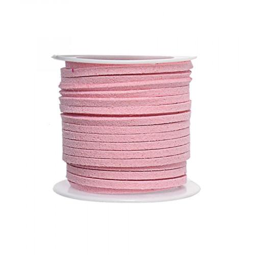 Cordon suédine synthétique - Rose pâle - 2 mm par 5 m