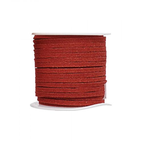 Cordon suédine synthétique - Rouge tomette - 2 mm par 5 m