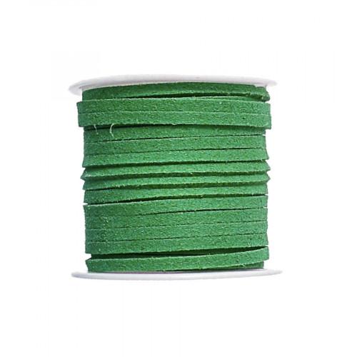 Cordon suédine synthétique - Vert véronèse - 2 mm par 5 m