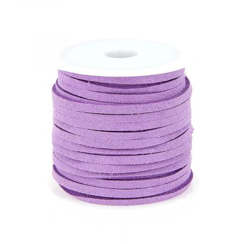 Cordon suédine synthétique - Violet mauve - 2mm par 5 m