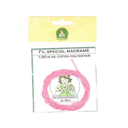Fil spécial macramé cordon en coton polyester - Rose - 1,50 M