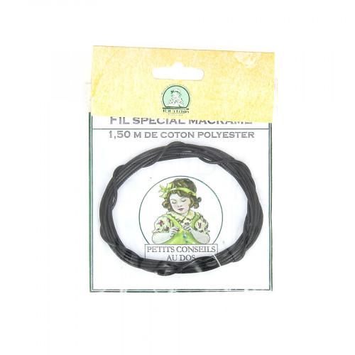 Fil spécial macramé cordon en coton polyester - Noir - 1,50 M
