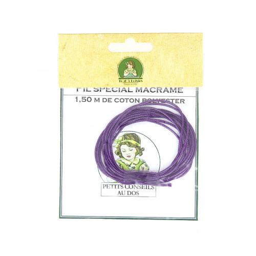 Fil spécial macramé cordon en coton polyester - Violet - 1,50 M
