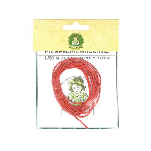 Fil spécial macramé cordon en coton polyester - Rouge - 1,50 M