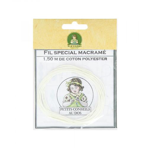 Fil spécial macramé cordon en coton polyester - Blanc - 1,50 M