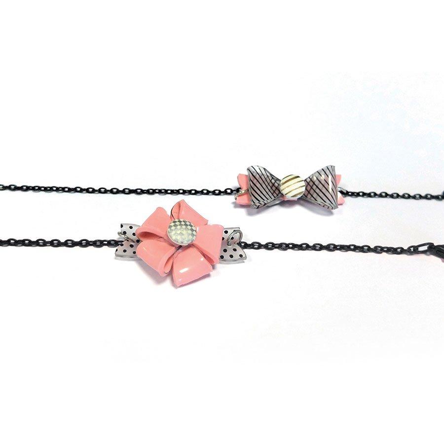 Plastique dingue - Kit 2 bracelets 3D - transparent / rose
