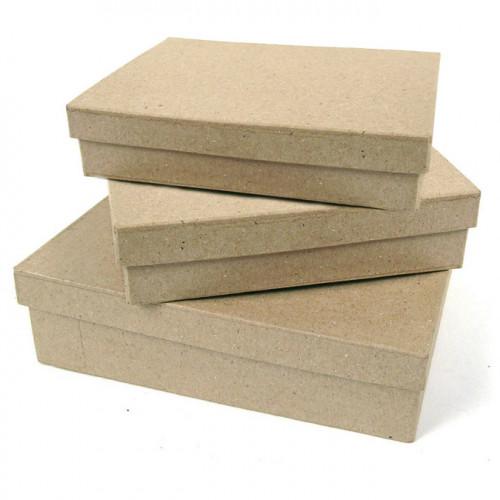 3 boites carrées en papier mâché
