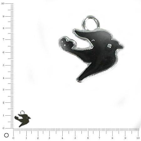 Breloque oiseau émaillé noir - L. 12 mm