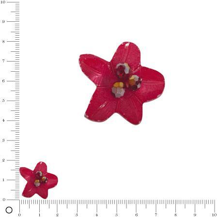 Bolero - Fleur en coquille avec perles facettées 22 mm - Rouge magma