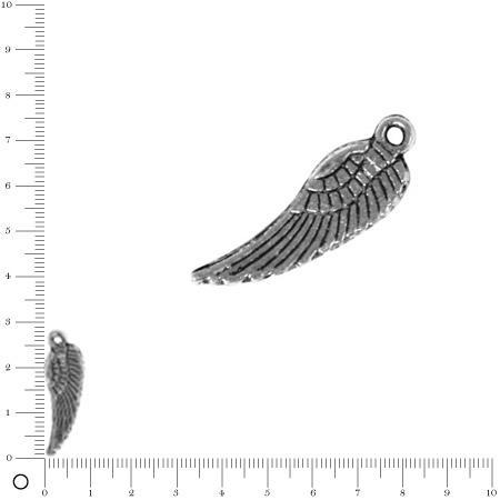 Pendentif Aile d'ange L. 28 mm - Argenté vieilli