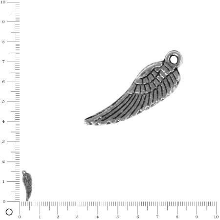 Pendentif Aile d'ange L. 15 mm - Argenté vieilli