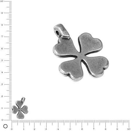 Pendentif Trèfle à 4 feuilles L. 15 mm - Argenté vieilli