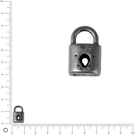 Pendentif Cadenas L. 15 mm - Argenté vieilli