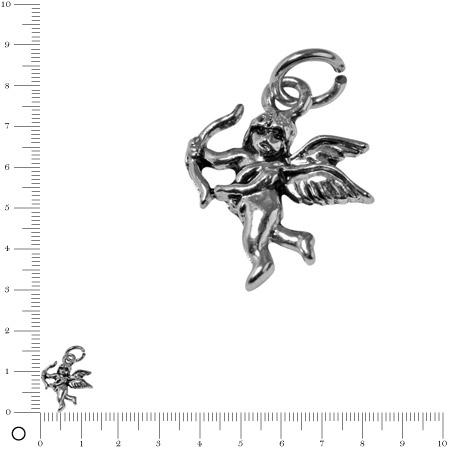 Pendentif Cupidon L. 15 mm - Argenté vieilli