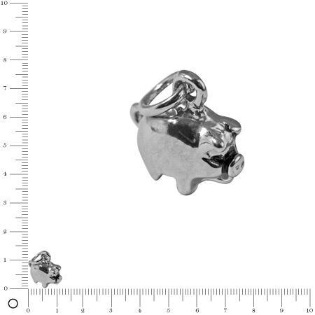 Pendentif Cochon porte bonheur L. 11 mm - Argenté vieilli