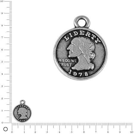 Pendentif Pièce de monnaie L. 16 mm - Argenté vieilli