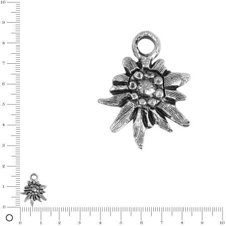 Pendentif Edelweiss L. 13 mm - Argenté vieilli