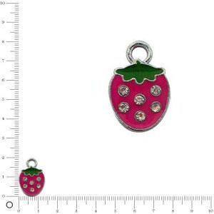 Breloque fraise L. 14 mm - Fuchsia