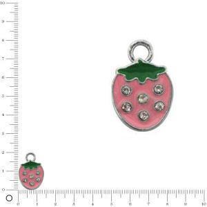 Breloque fraise L. 14 mm - Rose clair