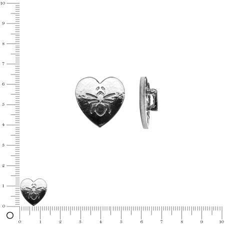 Breloque pour ruban - Cœur motif araignée 14 mm - Argenté