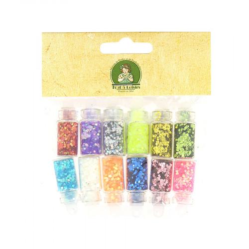 12 mini bouteilles à paillettes - Multicolore - Taille d'une bouteille : 30 x 11 mm