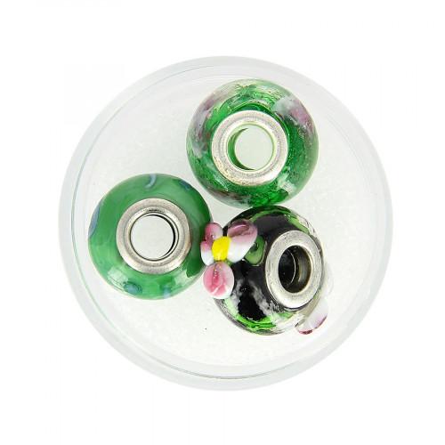 Boîte de 3 perles à gros trou - Vert à motifs - Ø 15 mm
