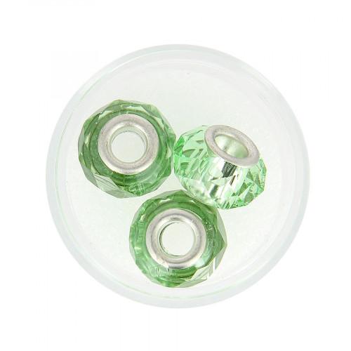 Boîte de 3 perles à gros trou - Vert transparent - Ø 15 mm