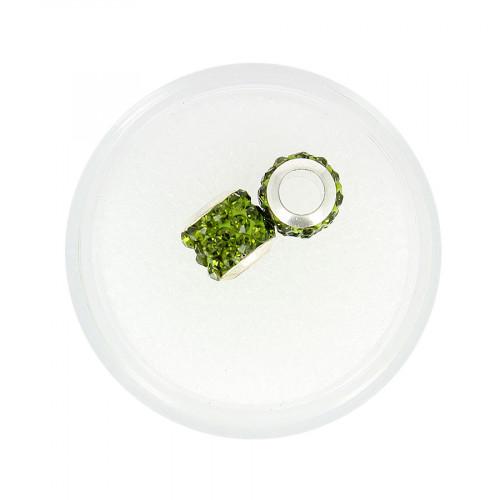 Boîte de 2 perles à gros trou - Vert à strass - Ø 10 mm